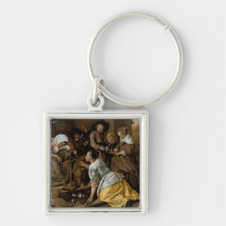 The Effects of Intemperance, c.1663-65 Silver-Colored Square Keychain
