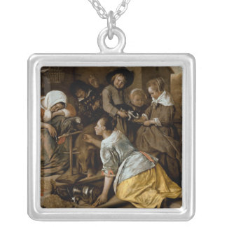 The Effects of Intemperance, c.1663-65 Square Pendant Necklace