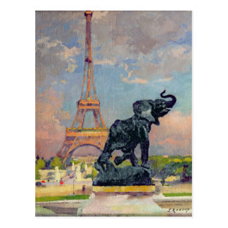 The Eiffel Tower and the Elephant by Fremiet Postcard