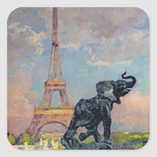 The Eiffel Tower and the Elephant by Fremiet Square Stickers