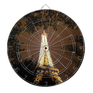 The Eiffel Tower at Night Dartboard With Darts