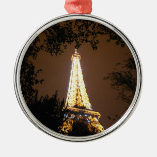 The Eiffel Tower at Night Metal Ornament