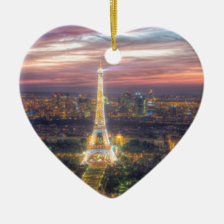 The Eiffel Tower at night, Paris France Ceramic Ornament