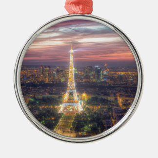 The Eiffel Tower at night, Paris France Metal Ornament