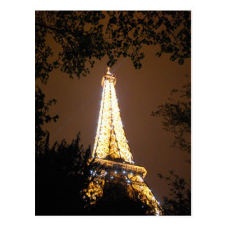 The Eiffel Tower at Night, Paris France Postcard