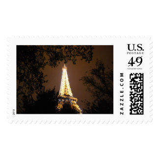 The Eiffel Tower at Night Postage Stamps