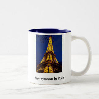 The_Eiffel_Tower_at_night, The_Eiffel_Tower_at_... Two-Tone Coffee Mug