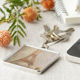 The Eiffel Tower by Georges Seurat Silver-Colored Square Keychain