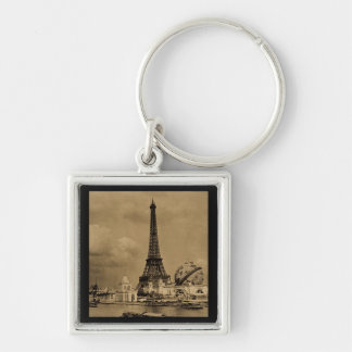 The Eiffel Tower from the Seine Paris Exposition Silver-Colored Square Keychain