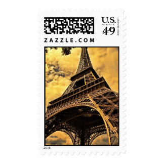 The Eiffel tower in Paris France Postage Stamp