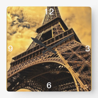 The Eiffel tower in Paris France Square Wall Clock