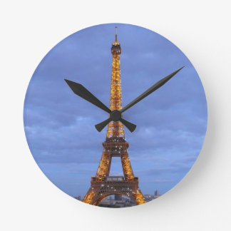 The Eiffel Tower Paris France Round Clock