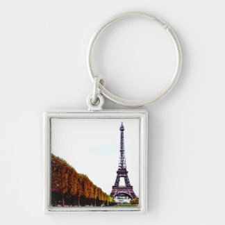 The Eiffel Tower - Paris Silver-Colored Square Keychain