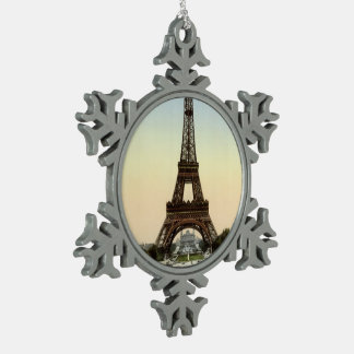The Eiffel Tower Snowflake Pewter Christmas Ornament