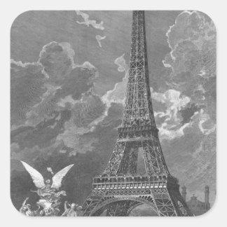 The Eiffel Tower  Universal Exhibition Square Sticker