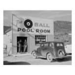 The Eight Ball Pool Room, 1940. Vintage Photo Poster