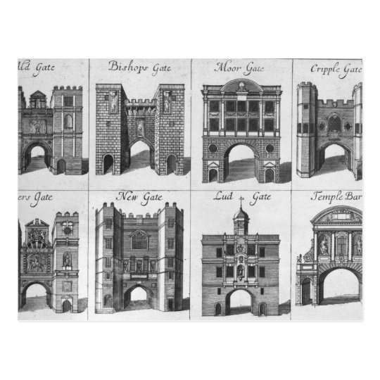 The Eight Gates of the City of London Postcard