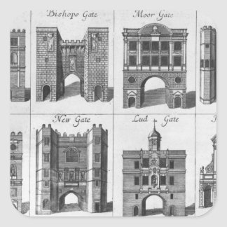 The Eight Gates of the City of London Square Sticker