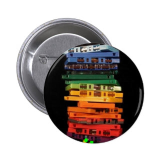 The eighties rainbow colored casette tapes button