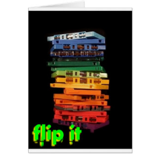 The eighties rainbow colored casette tapes card