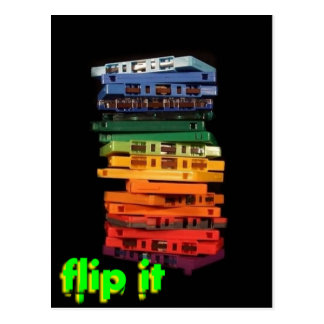 The eighties rainbow colored casette tapes postcard