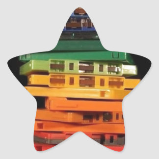 The eighties rainbow colored casette tapes star sticker