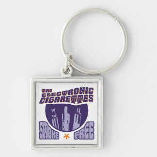 The Electronic Cigarettes - Smoke Free Silver-Colored Square Keychain