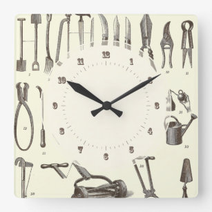 The Elegant Gardener   Antique Garden Tools Square Wall Clock