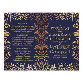 The Elegant Navy & Gold Floral Wedding Collection Flyer