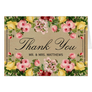 The Elegant Vintage Floral Wedding Collection Stationery Note Card