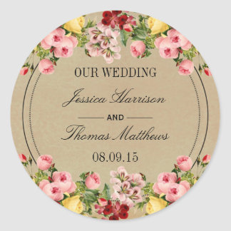 The Elegant Vintage Floral Wedding Collection Classic Round Sticker