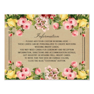 The Elegant Vintage Floral Wedding Collection 4.25x5.5 Paper Invitation Card