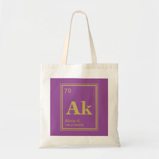 The Element of You! Custom Name Fuscia Periodic Tote Bag