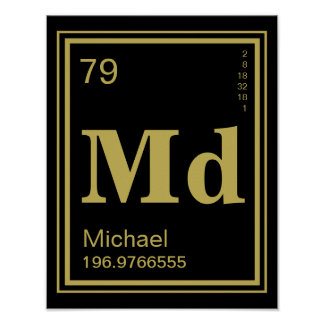 The Element of You! Custom Name Gold Element Poster
