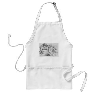 The elephant and his trainer by Martin Schongauer Adult Apron
