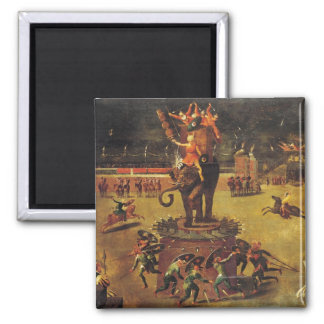 The Elephant Carousel 2 Inch Square Magnet