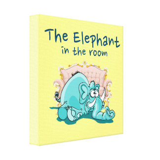 The Elephant In The Room Cartoon Canvas Print