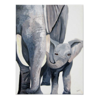 The Elephants (Kimberly Turnbull Art) Poster