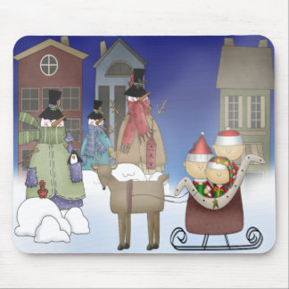 The Elves Visit Snowman Town Mousepad