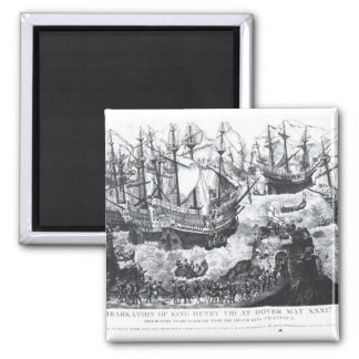 The Embarkation of Henry VIII  at Dover 2 Inch Square Magnet
