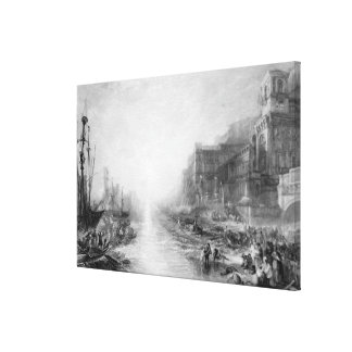 The Embarkation of Regulus, Ancient Carthage, engr Canvas Print