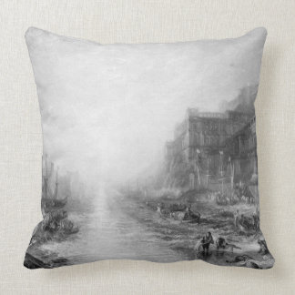 The Embarkation of Regulus, Ancient Carthage, engr Throw Pillow