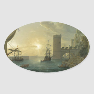 The Embarkation of the Queen of Sheba by Claude Oval Sticker