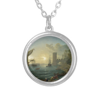The Embarkation of the Queen of Sheba by Claude Silver Plated Necklace