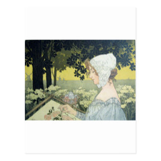 THE EMBROIDERER  LA BRODEUSE POSTCARD
