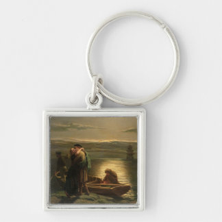 The Emigrant, 1858 Silver-Colored Square Keychain