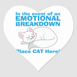 The Emotional Breakdown Cat Heart Sticker