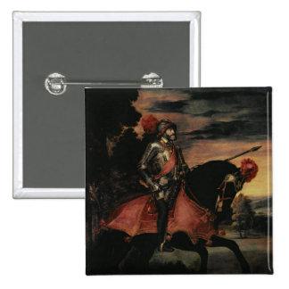 The Emperor Charles V  on Horseback 2 Inch Square Button
