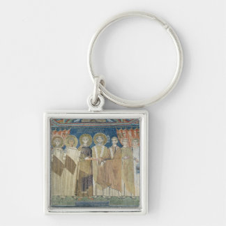 The Emperor Constantine IV grants tax immunity Silver-Colored Square Keychain