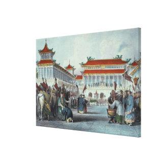 The Emperor Teaon-Kwang Reviewing his Guards, Pala Canvas Print